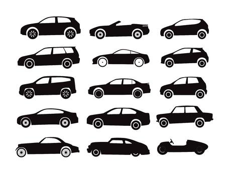 Moderne en klassieke auto's silhouetten collectie