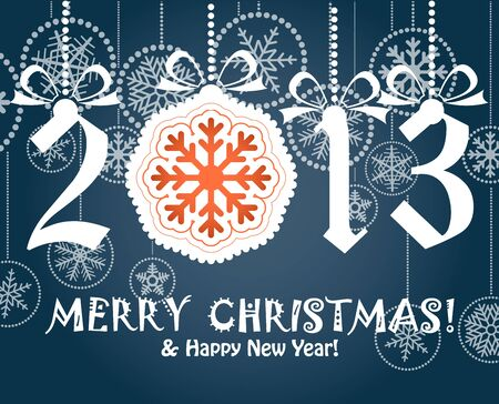 Greeting card with white digits 2012  Merry Christmas and Hapy New Year,  Vector