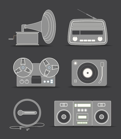 Digital and analogue music players icons Stock Vector - 15611272