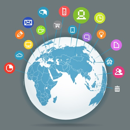 global map: Abstract scheme of social media network Illustration