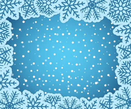 Christmas background with paper flakes Vector