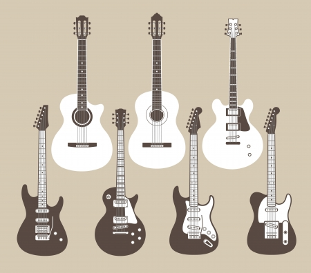 Vector silhouettes of acoustic and electric guitars  Vector