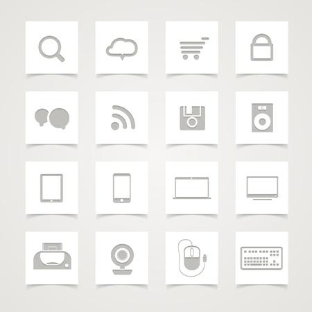 紙ボタンでモダンなソーシャル メディアのアイコン  イラスト・ベクター素材