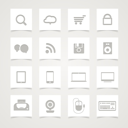 Modern Social media icons on paper buttons Stock Vector - 15660884