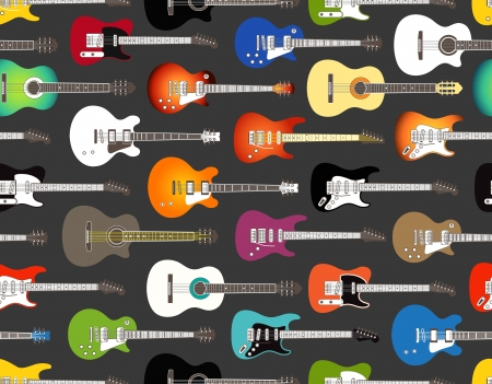 Seamless background of color acoustic and electric guitars