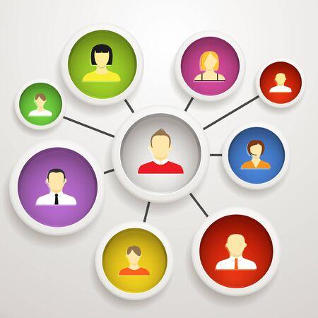 ソーシャル ネットワークの抽象的なスキーム  イラスト・ベクター素材