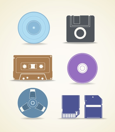 Digital and analogue storage icons Stock Vector - 15660868