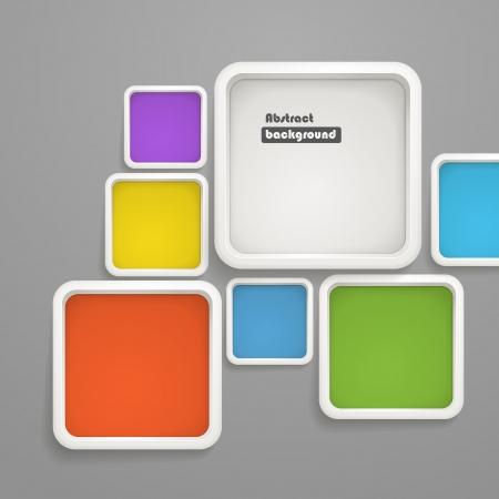 Sfondo astratto di scatole di colore. Modello per un testo