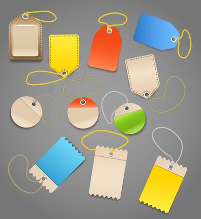 Collection of shopping tags with rope Vector