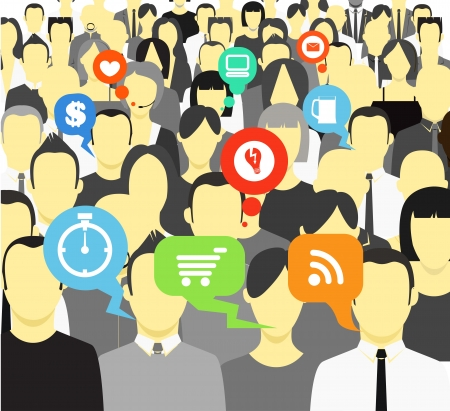 communication icons: Talking and thinking people in a crowd Illustration
