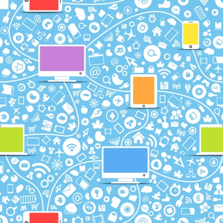 Seamless background of color modern gadgets and media icons Vector