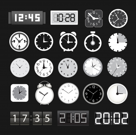 abstract alarm clock: Black and white different clocks collection