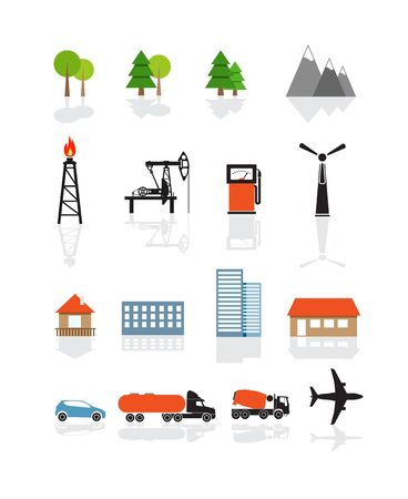 wind icon: Transport and ecology icons collection isolated on white