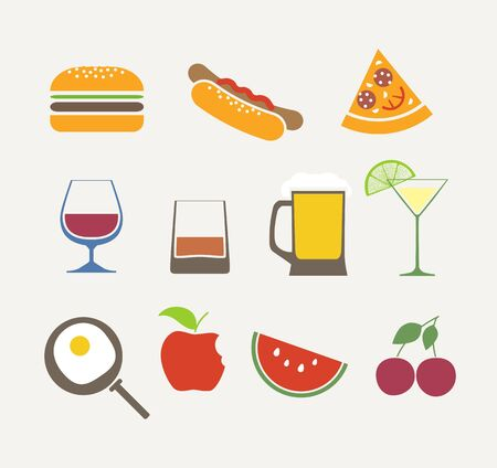 foods icons set Stock Vector - 15781617