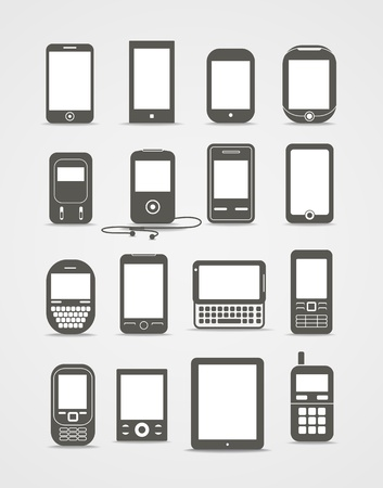 electronic devices: Abstract style modern and vintage mobile gadgets  Illustration