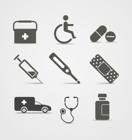 syringe injection: Abstract style medical icons set Illustration