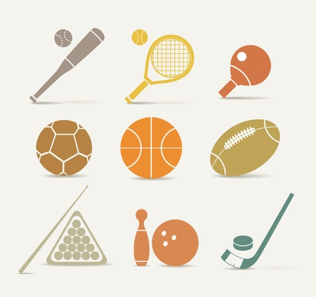 Abstract style sports equipment icons Vector