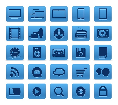 Modern Social media buttons collection isolated on white Stock Vector - 15908109