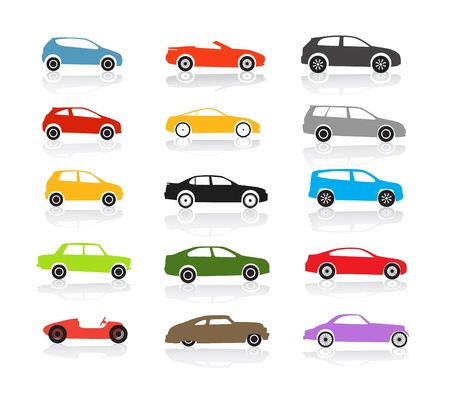 Modern and vintage color cars collection Illustration