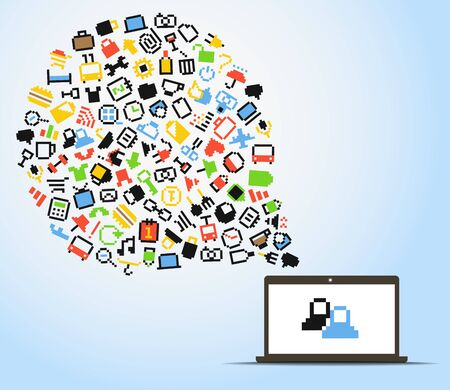 Abstract speech cloud of pixel icons and computer Vector