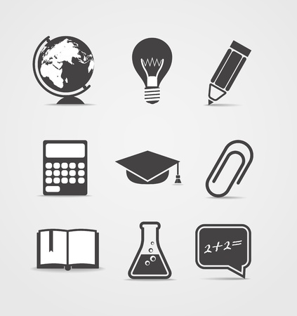 Abstract style icons set. Education Vector
