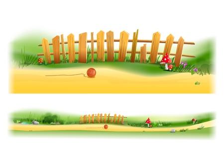 grass plot: Wooden fence illustration Illustration