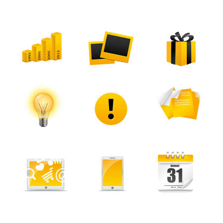 calandar: Collection of golden media icons