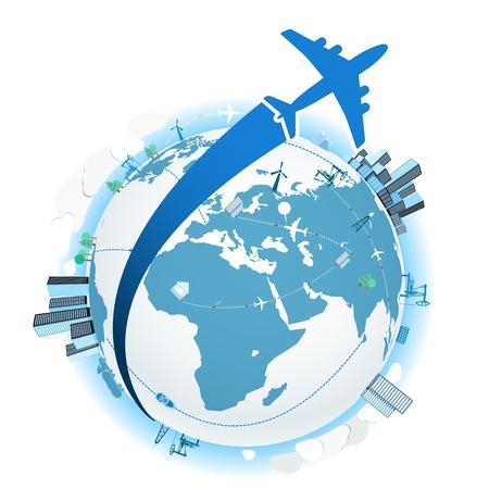 飛行機での旅行。ベクトル イラスト