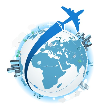 trajectoire: Voyager en avion. Vector illustration Illustration