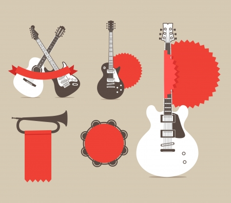 hard rock: Vector music instruments with red ribbons and tags. template for a text