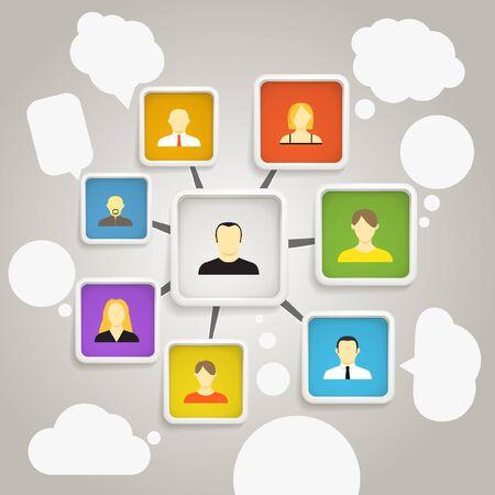 Abstract scheme of social network Stock Vector - 15908336