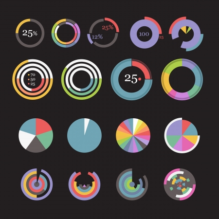 Circle chart templates collection Illustration