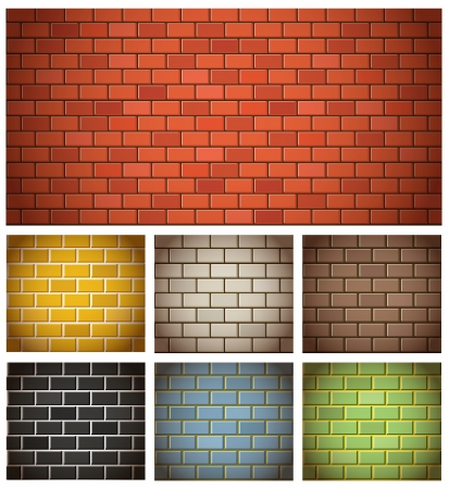 green wall: Different color brick textures collection Illustration