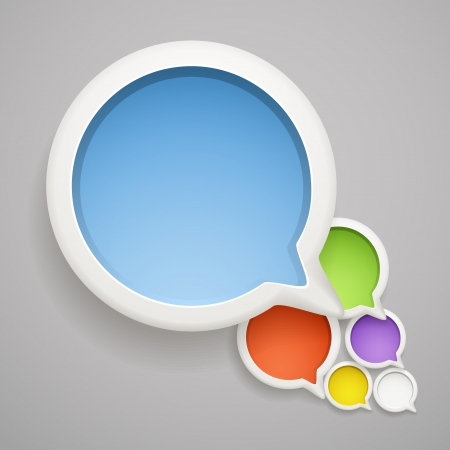 interface scheme: Abstract speech cloud of color bubbles. Ready fo� a text