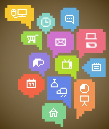 pixel art: Abstract speech clouds and media icons