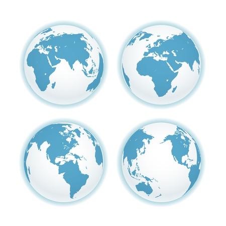 globo terraqueo: Tierra esquema mapa aislado en blanco.