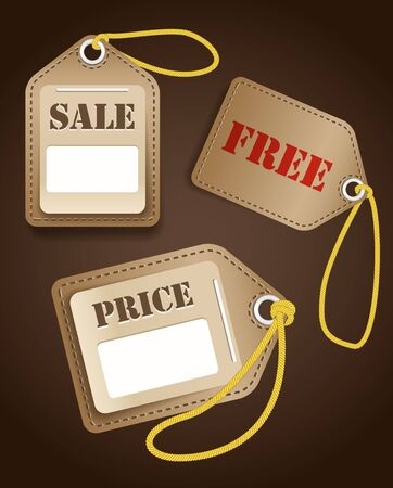 Leather shopping tags with rope Vector