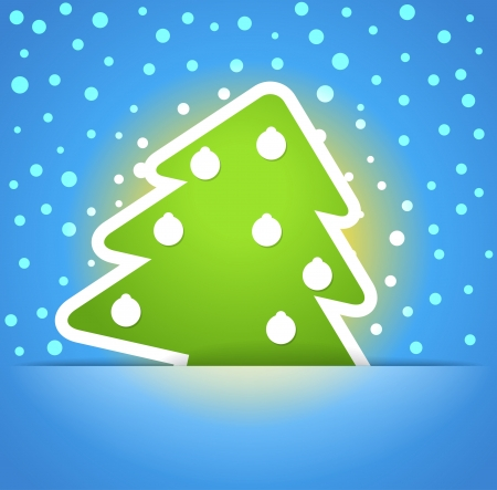 Green christmas tree with baubles. Christmas greeting card Vector