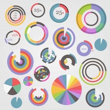 full time: Circle chart templates collection Illustration
