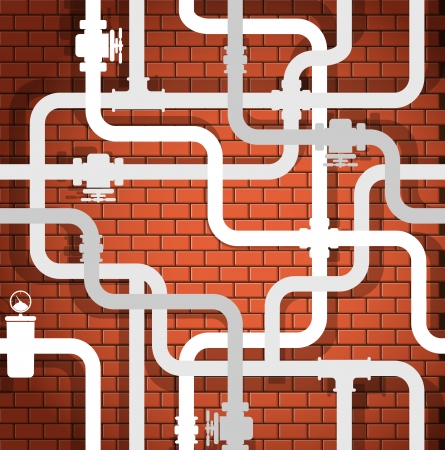 conduit: Background of break wall and water pipeline Illustration