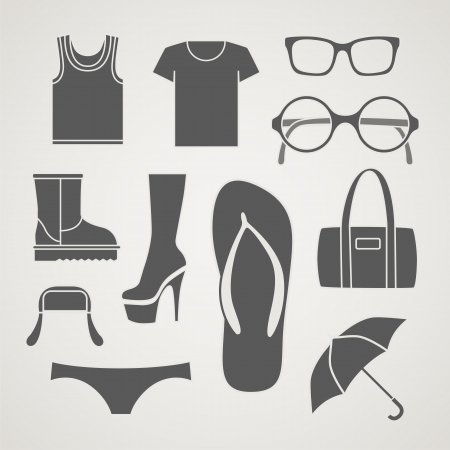 lady slipper: Set of fashionable clothes silhouettes,