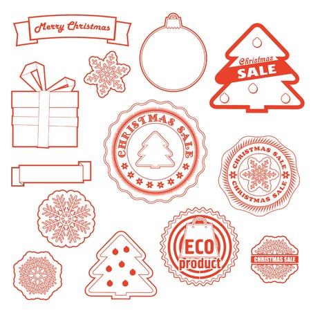 Winter labels vector set  Christmas and eco collection Stock Vector - 16176574