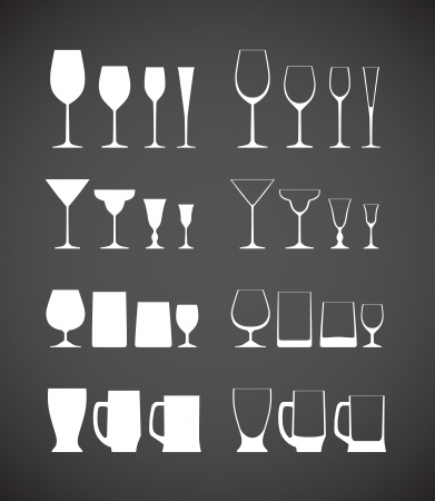 Glass silhouettes collection Vector
