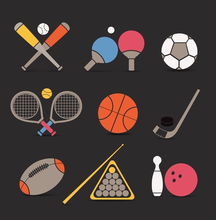 Abstract style sports equipment color icons Vector
