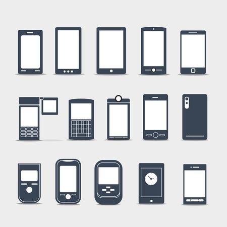 key pad: Modern mobile gadgets silhouettes
