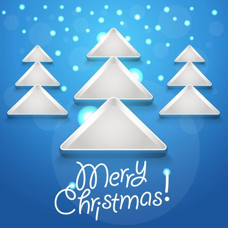 Abstract Christmas tree glowing snowflakes Vector