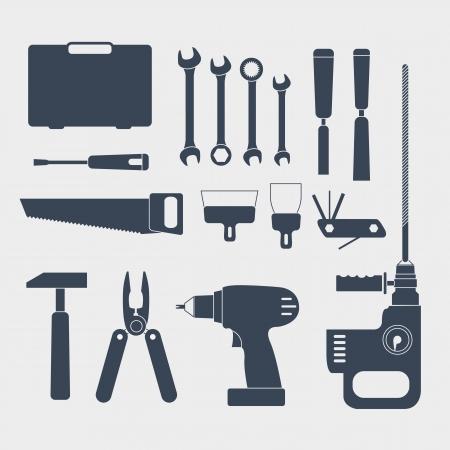 cincel: El�ctricos y manejable herramienta sillhouettes Vectores
