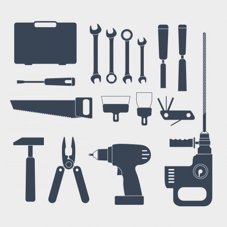 trowel: Electric and handy tool sillhouettes Illustration