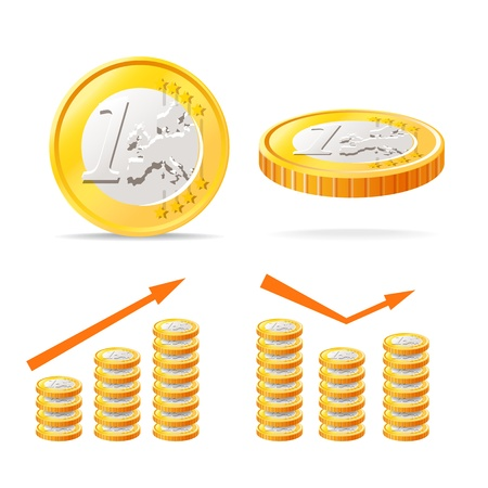 Euro coins isolated on white Stock Vector - 16312902