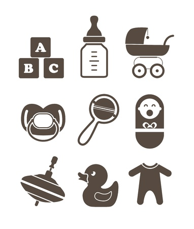 baby goods: Baby`s accessories silhouettes collection isolated on white Illustration